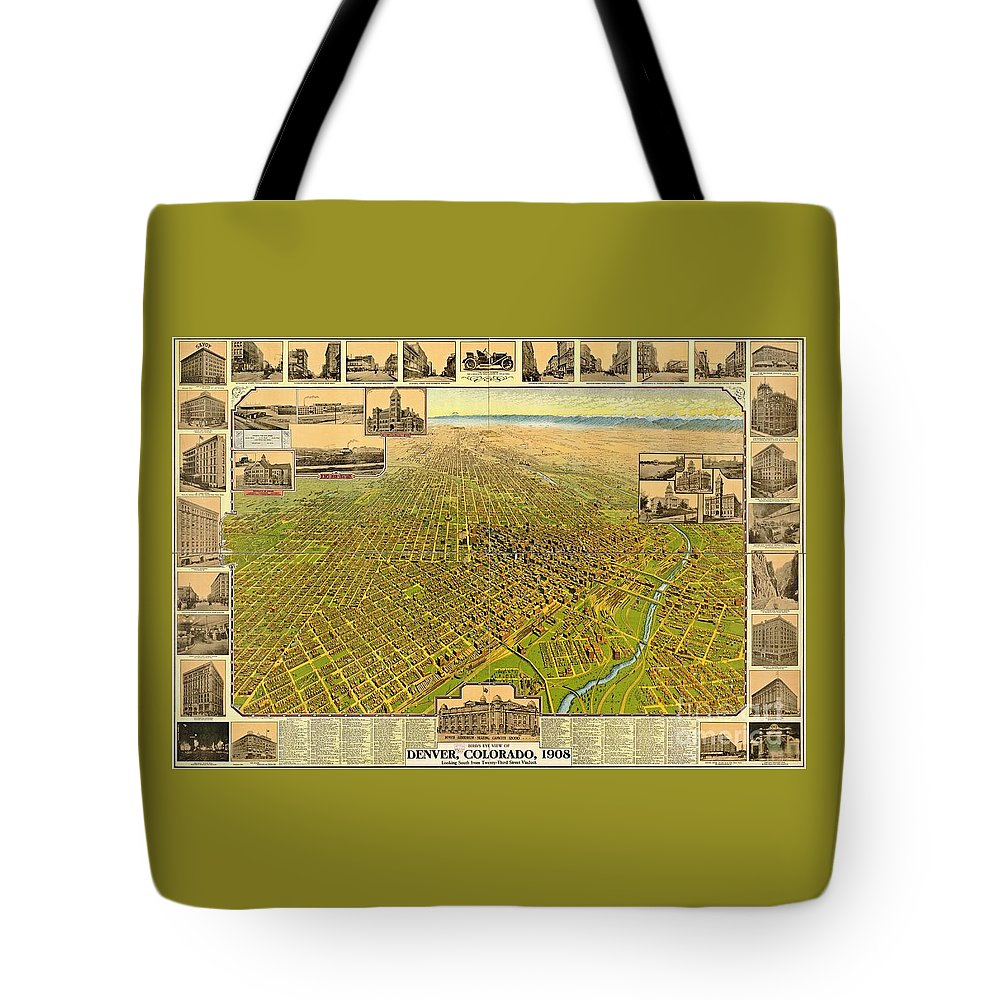 Historic Map Of Denver Tote Bag featuring the photograph Historic Map Of Denver by Pd