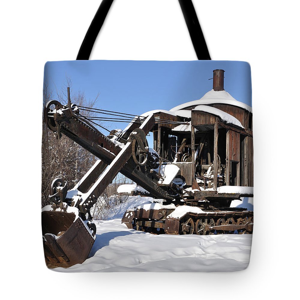 Alaska Tote Bag featuring the photograph Historic Mining Steam Shovel During Alaska Winter by Gary Whitton