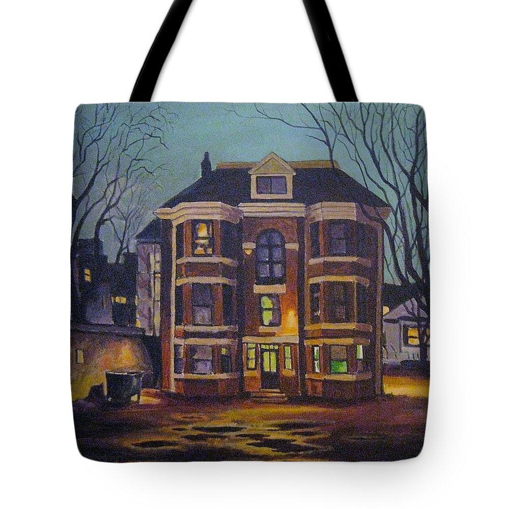 Moody Tote Bag featuring the painting Historic Property South End Haifax by John Malone