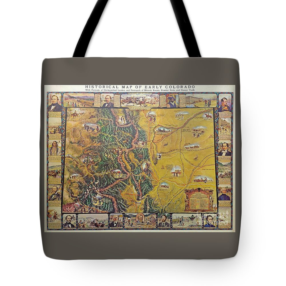 Historical Map Of Early Colorado Tote Bag featuring the photograph Historical Map Of Early Colorado by Pd