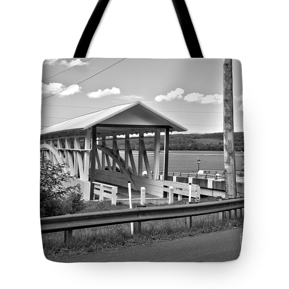 Bowser Coverd Bridge Tote Bag featuring the photograph History At The Bend Black And White by Adam Jewell