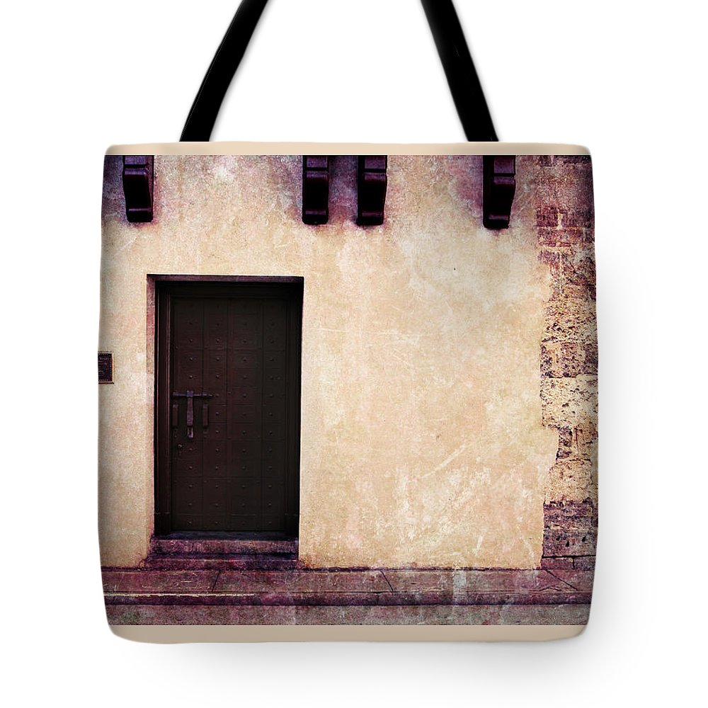 Door Tote Bag featuring the photograph History's Doorway 2 by Romina Ludovico-Pfosi