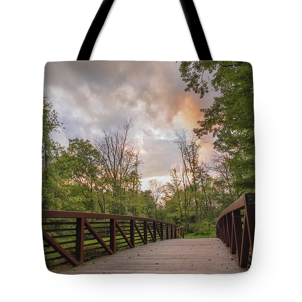 Covered Bridge Park Tote Bag featuring the photograph Hit the Trail by Kristopher Schoenleber