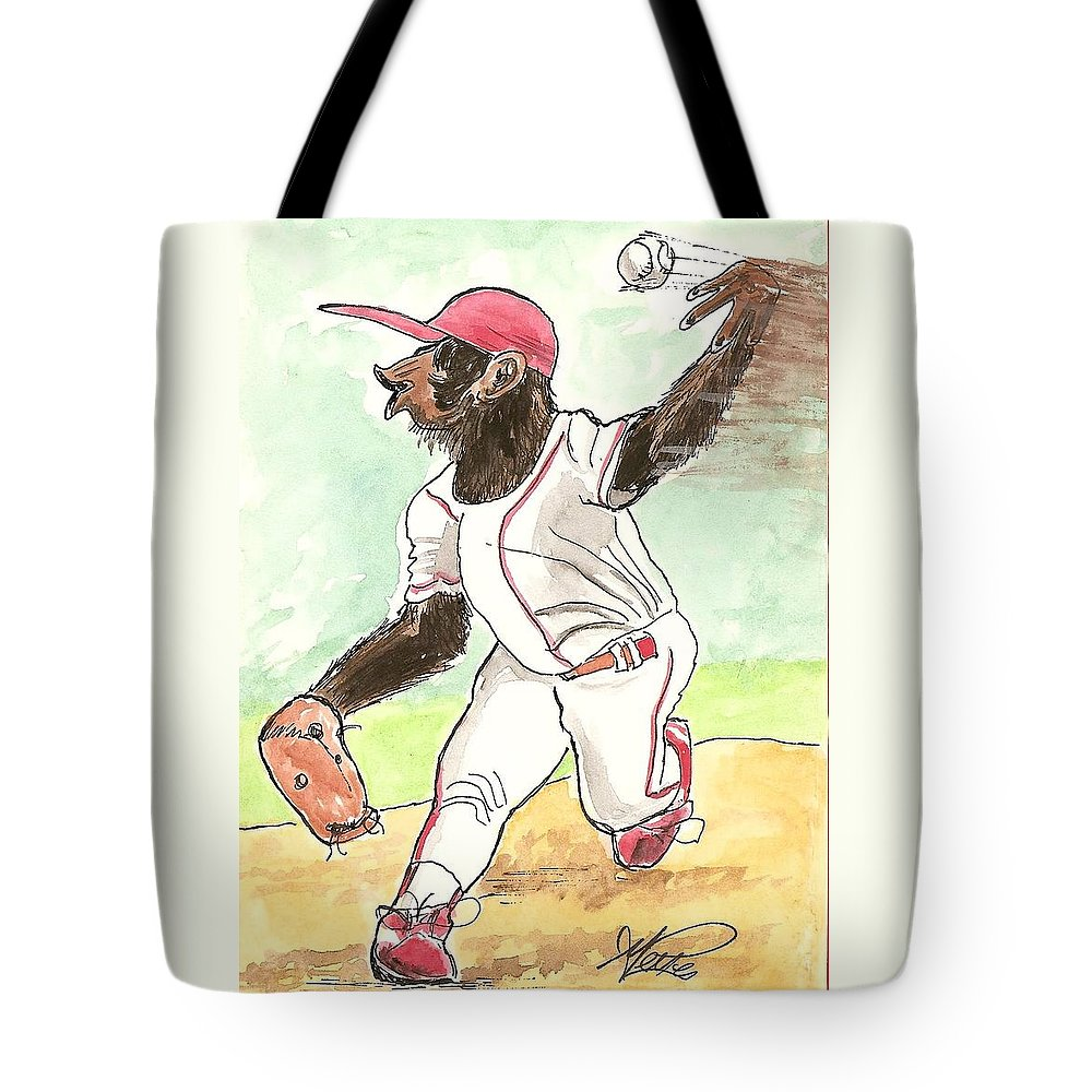 Baseball Tote Bag featuring the drawing Hit This by George I Perez