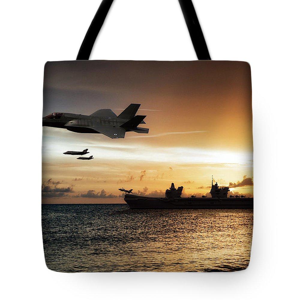 Hms Queen Elizabeth Tote Bag featuring the digital art Hms Queen Elizabeth by J Biggadike