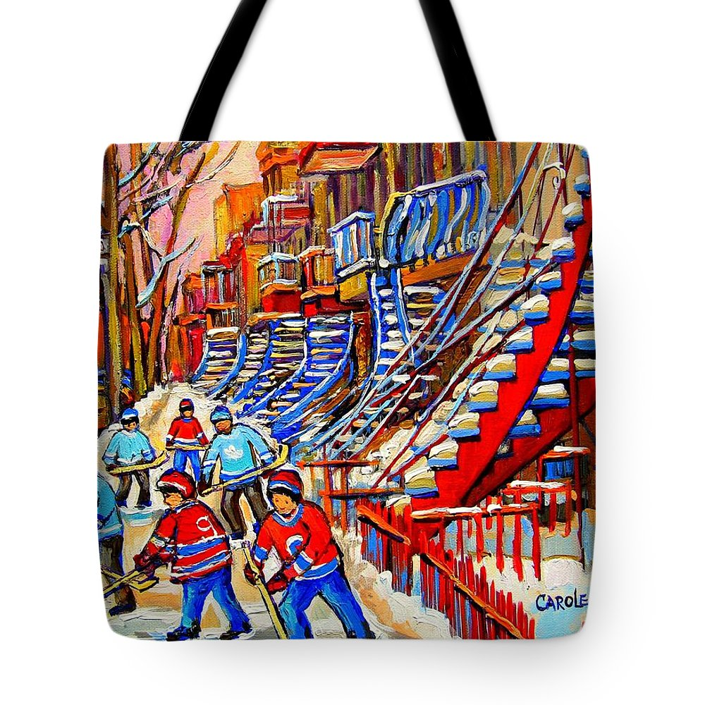 Montreal City Tote Bag featuring the painting Hockey Game Near The Red Staircase by Carole Spandau