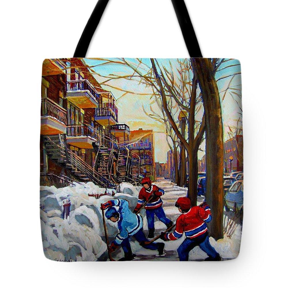 Hockey Canvas Prints Tote Bag featuring the painting Hockey On De Bullion by Carole Spandau