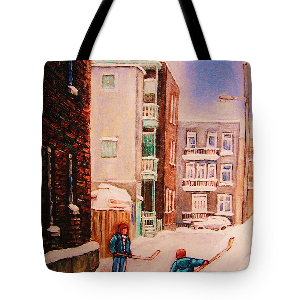 Hockey Tote Bag featuring the painting Hockey Practice by Carole Spandau