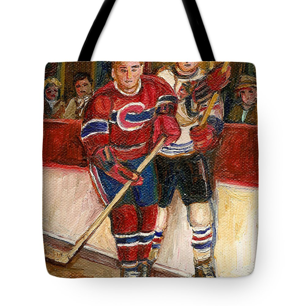 Hockey Tote Bag featuring the painting Hockey Stars At The Forum by Carole Spandau
