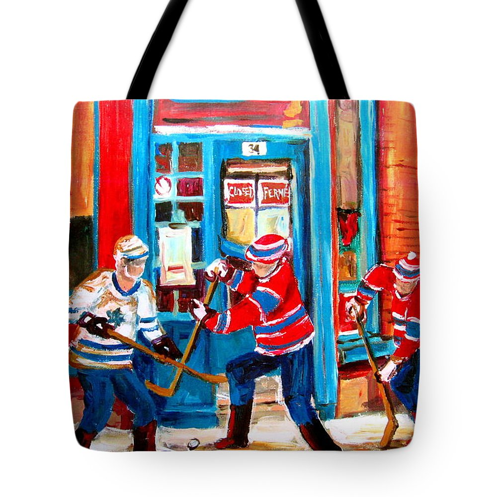 Wilenskys Tote Bag featuring the painting Hockey Sticks In Action by Carole Spandau