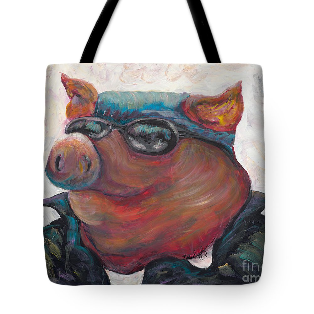 Hog Tote Bag featuring the painting Hogley Davidson by Nadine Rippelmeyer