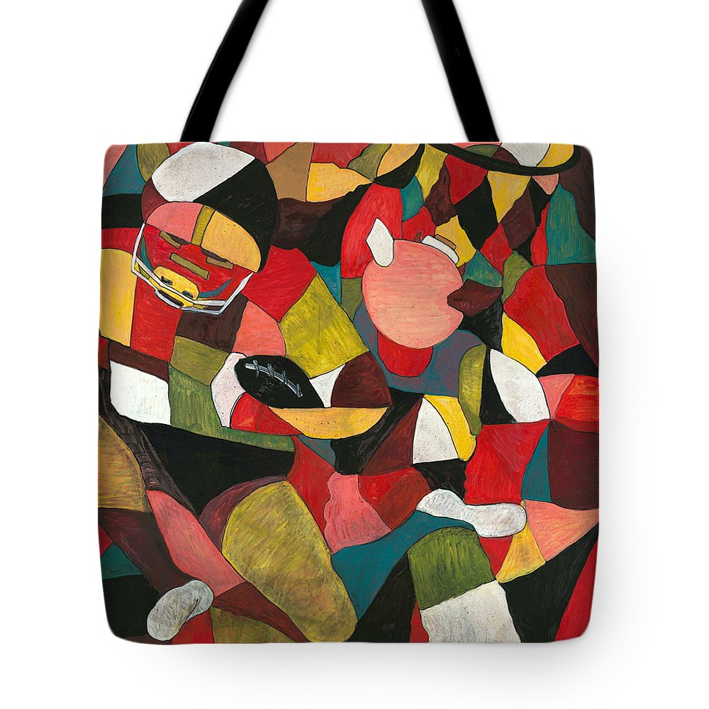 Hog Tote Bag featuring the painting Hogs Hoops And A Pigskin by Nadine Rippelmeyer