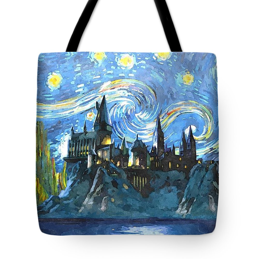 Harry Potter Art Tote Bag featuring the digital art Blue Hogwarts Poster by Midex Planet