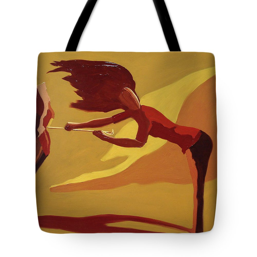 Woman Tote Bag featuring the painting Hold On by Barbara Andolsek