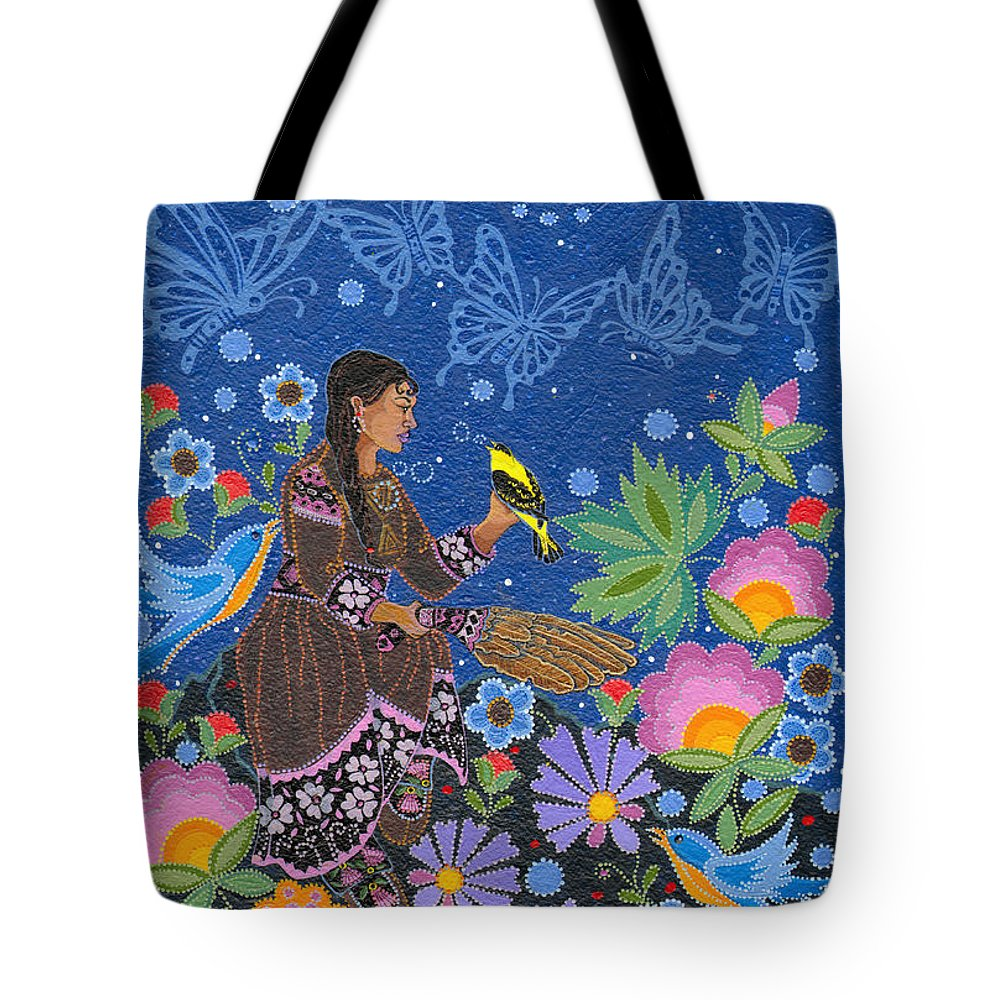 Native Women Tote Bag featuring the painting Hole In the Sky's Daughter by Chholing Taha