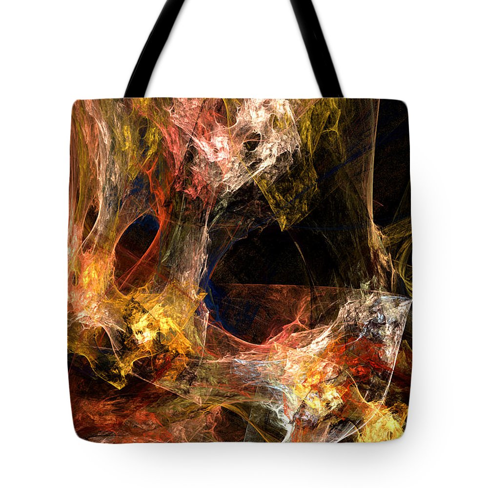 Abstract Tote Bag featuring the digital art Holes by Ruth Palmer