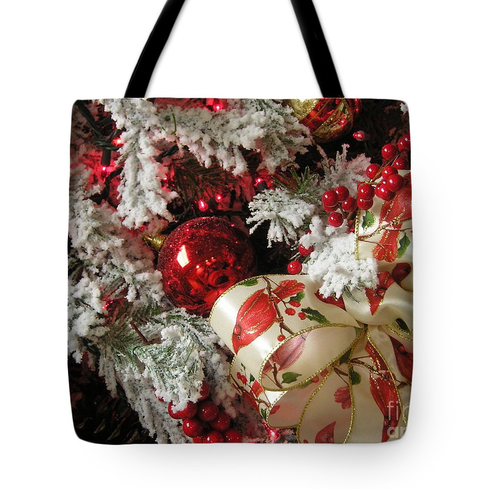 Tree Tote Bag featuring the photograph Holiday Cheer I by Maria Bonnier-Perez