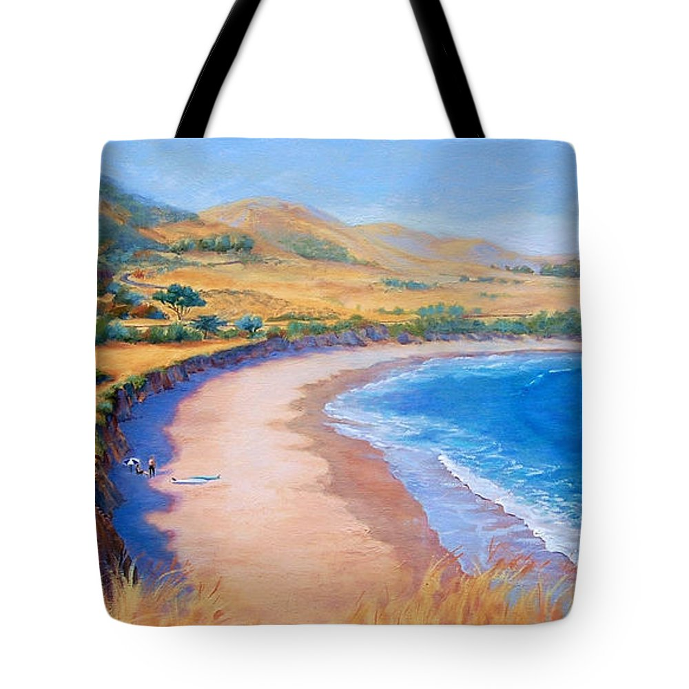 Beach Tote Bag featuring the painting Holiday Crowd at Ranch House by Lynee Sapere