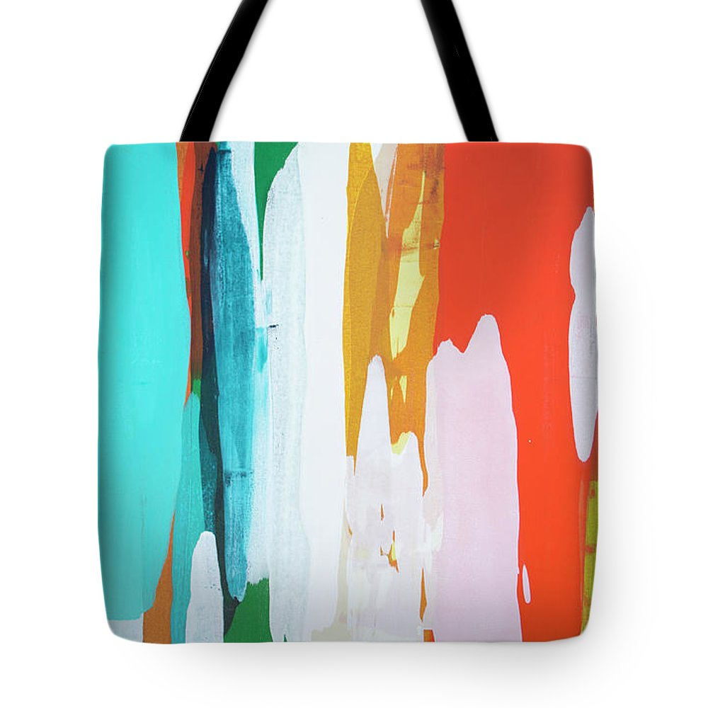 Abstract Tote Bag featuring the painting Holiday Everyday by Claire Desjardins