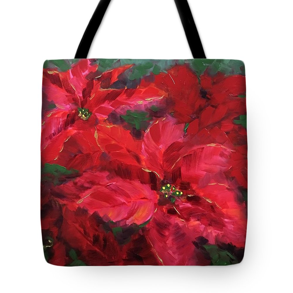 Poinsetta Tote Bag featuring the painting Holiday by Nancy Breiman