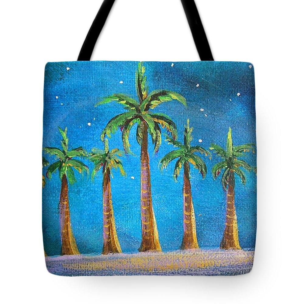 Holiday Card Tote Bag featuring the painting Holiday Palms by Patricia Piffath