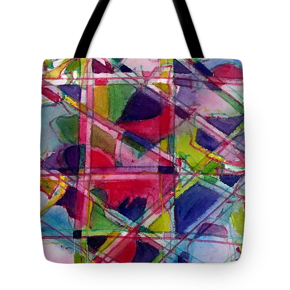 Abstract Tote Bag featuring the painting Holiday Rush by Jan Bennicoff