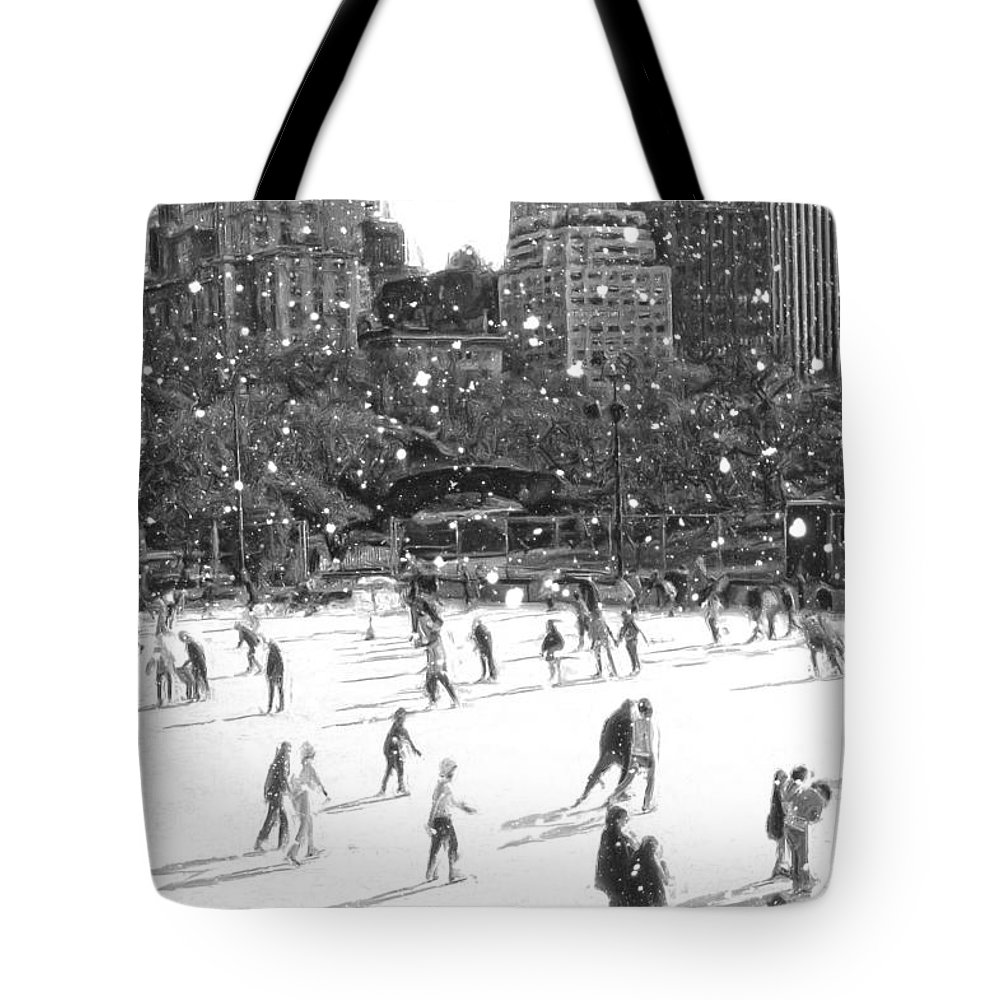 New York Central Park Tote Bag featuring the digital art Holiday Skaters by Russ Considine