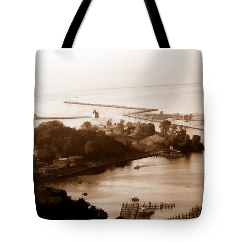 Holland Tote Bag featuring the photograph Holland Michigan Harbor Big Red Aerial Photo by Michelle Calkins