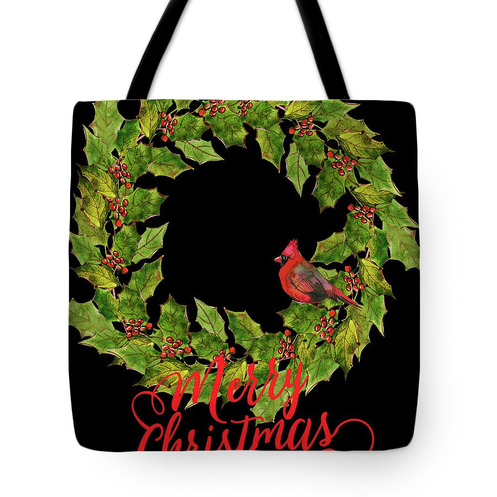 Wreath Tote Bag featuring the digital art Holly Christmas Wreath And Cardinal by HH Photography of Florida