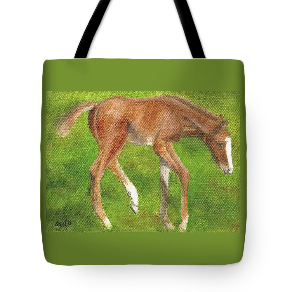 Horse Paintings Tote Bag featuring the painting Holly by Deborah Butts