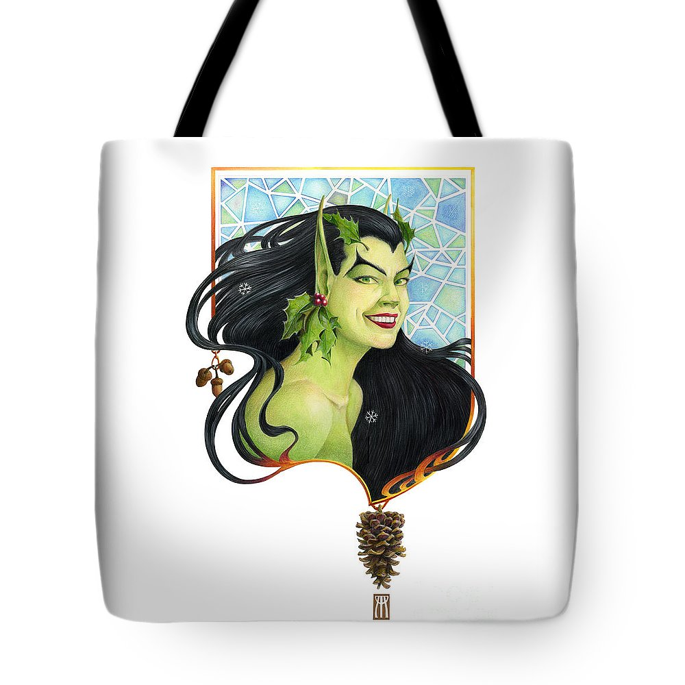Acorn Tote Bag featuring the mixed media Holly Elf by Melissa A Benson