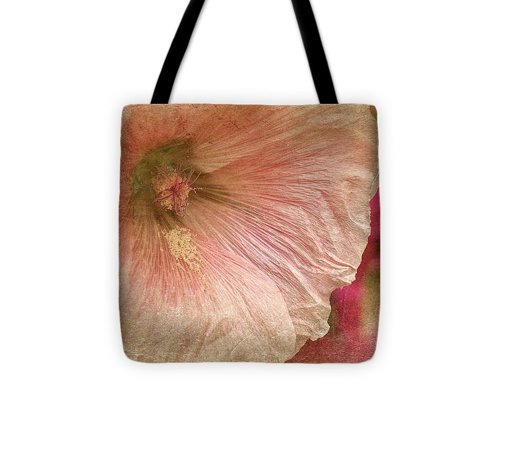 Beige Hollyhock Tote Bag featuring the photograph Hollyhock by Richard Cummings