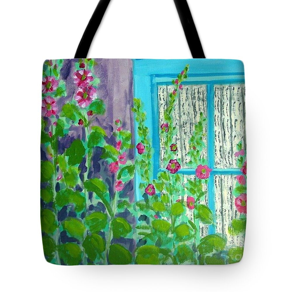 Hollyhocks Tote Bag featuring the painting Hollyhock Surprise by Laurie Morgan
