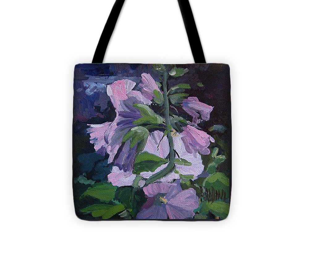 Flower Paintings Tote Bag featuring the painting Hollyhocks by J R Baldini