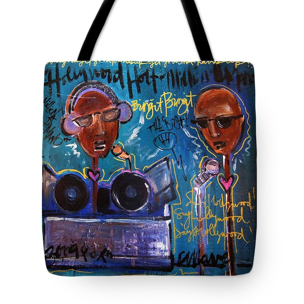 Blue Tote Bag featuring the painting Hollywood Holt Plays Monolith by Laurie Maves ART