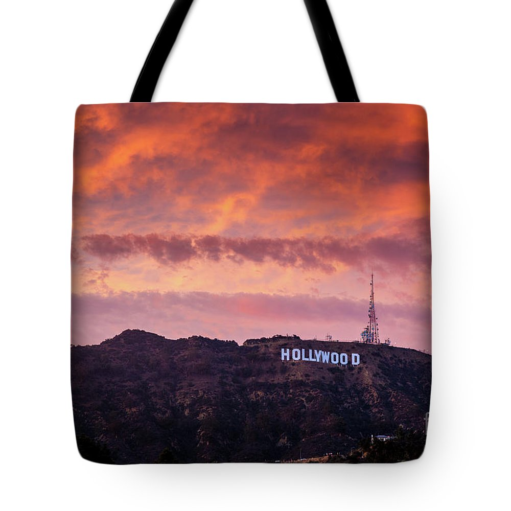 Hollywood Tote Bag featuring the photograph Hollywood Sign At Sunset by Konstantin Sutyagin