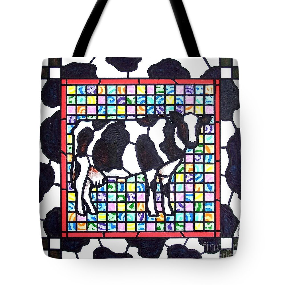 Cattke Tote Bag featuring the painting Holstein 3 by Jim Harris
