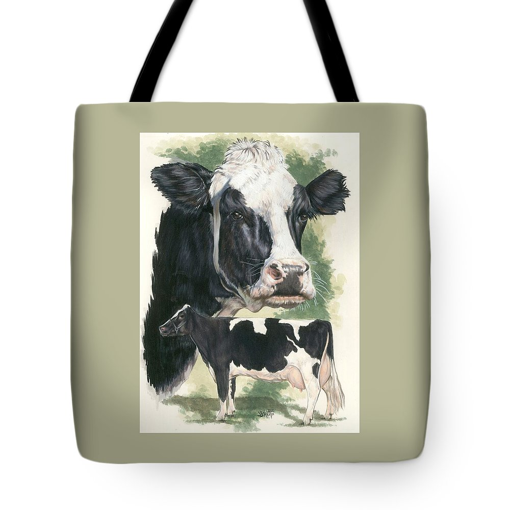 Cow Tote Bag featuring the mixed media Holstein by Barbara Keith