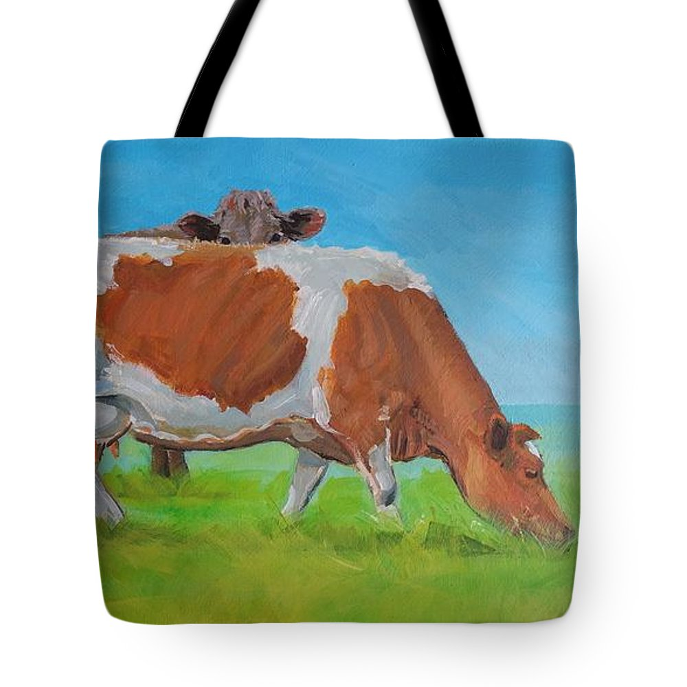 Holstein Tote Bag featuring the painting Holstein Friesian Cow And Brown Cow by Mike Jory