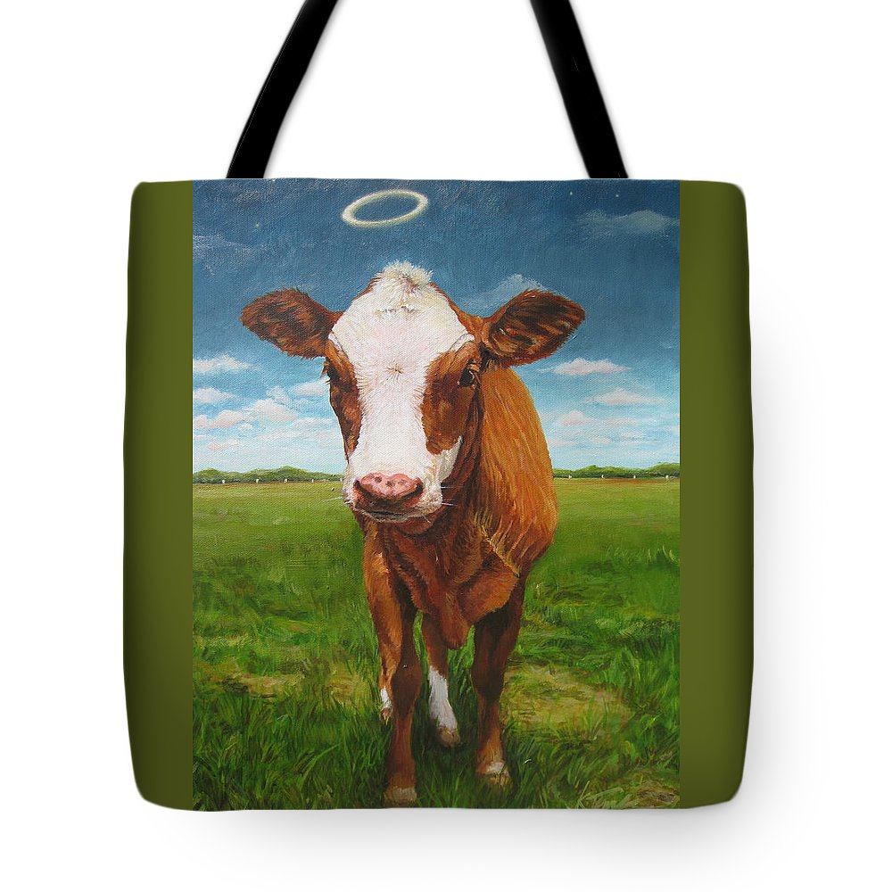Cow Tote Bag featuring the painting Holy Cow by Katharine Turk-Truman