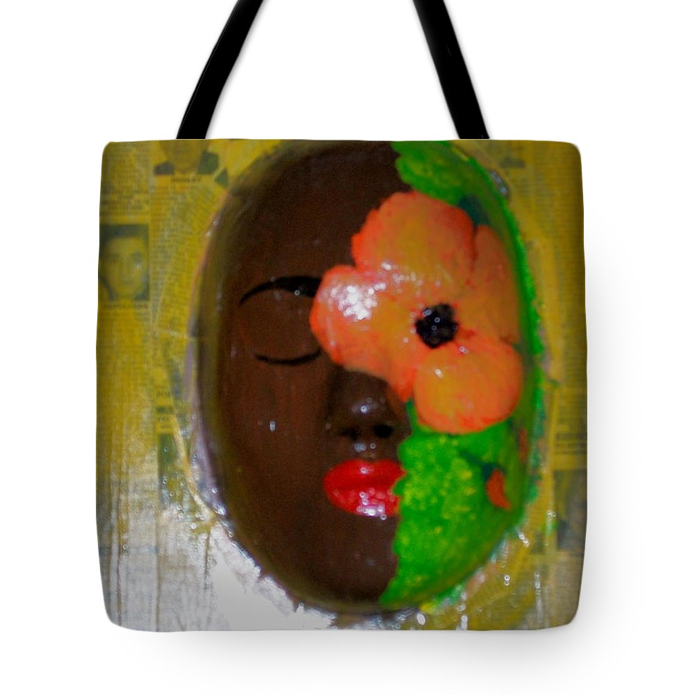 Mask Tote Bag featuring the painting Homage Three by Laurette Escobar