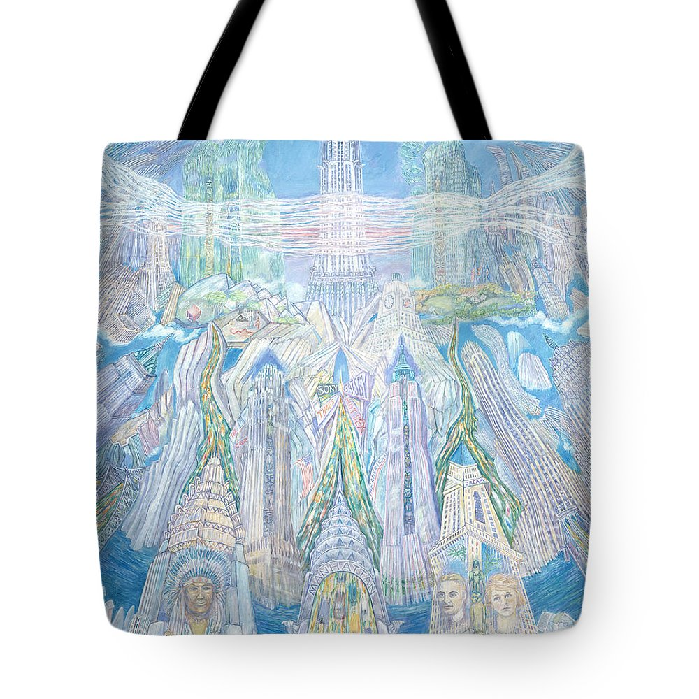 New York Cityscape Tote Bag featuring the painting Homage To New York And The Chrysler Building by Patricia Buckley