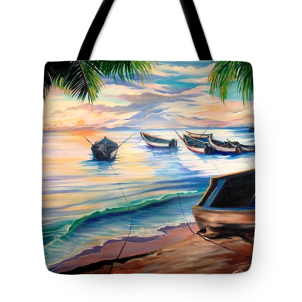 Ocean Painting Caribbean Painting Seascape Painting Beach Painting Fishing Boats Painting Sunset Painting Blue Palm Trees Fisherman Trinidad And Tobago Painting Tropical Painting Tote Bag featuring the painting Home From The Sea by Karin Dawn Kelshall- Best