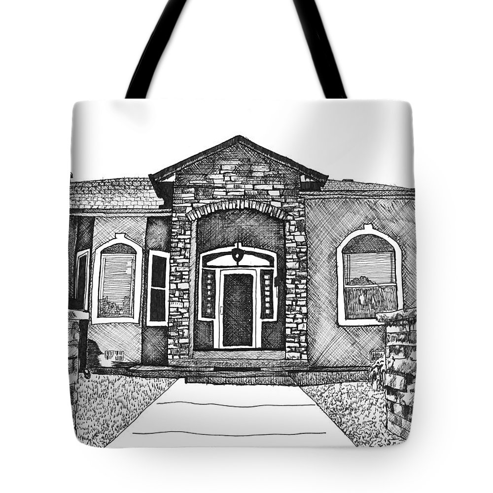 Pen & Ink Tote Bag featuring the drawing Home Front by Jessica Coulter