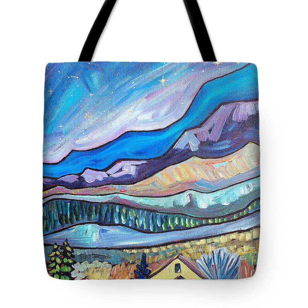 Impressionist Painting Tote Bag featuring the painting Home In The Hills by Beth Lighthouse