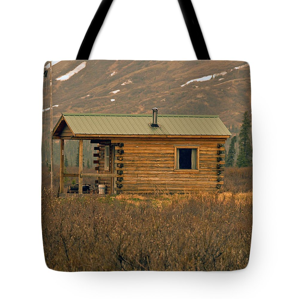 Log Cabin Tote Bag featuring the photograph Home Sweet Fishing Home In Alaska by Denise McAllister