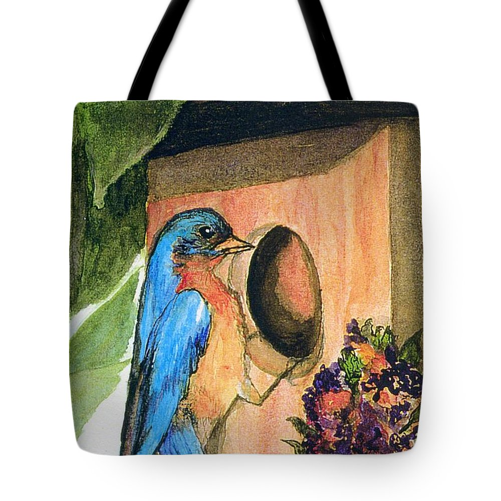 Bluebirds Tote Bag featuring the painting Home Sweet Home by Gail Kirtz