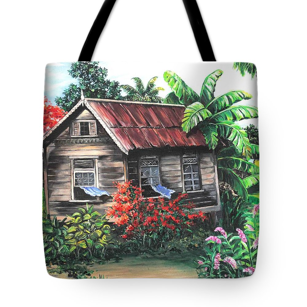 Caribbean House Tote Bag featuring the painting Home Sweet Home by Karin Dawn Kelshall- Best