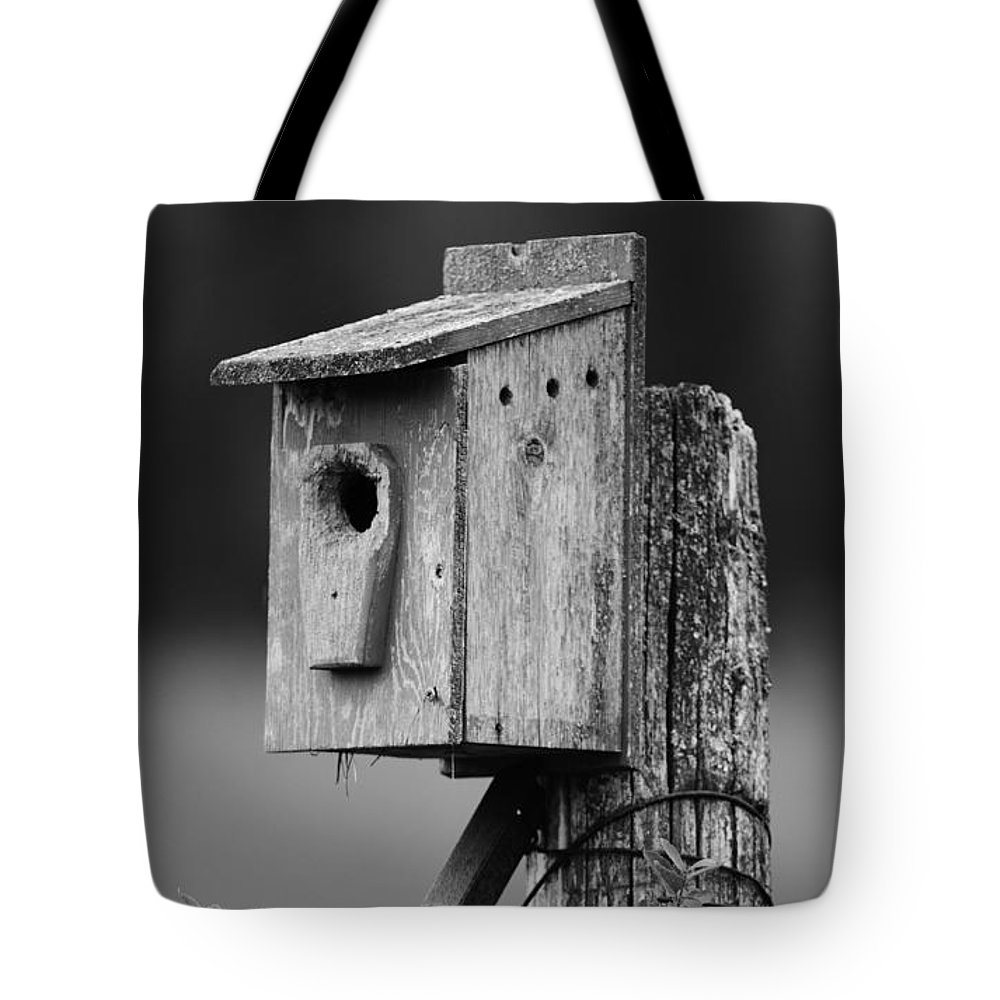 Blue Bird House Tote Bag featuring the photograph Home Sweet Home... by Nina Stavlund