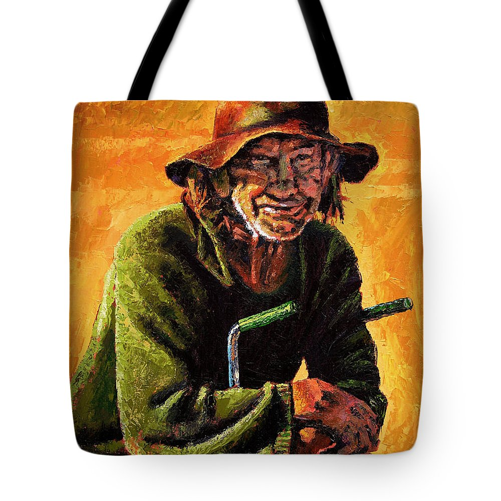Homeless Man With Bike Tote Bag featuring the painting Homeless by John Lautermilch